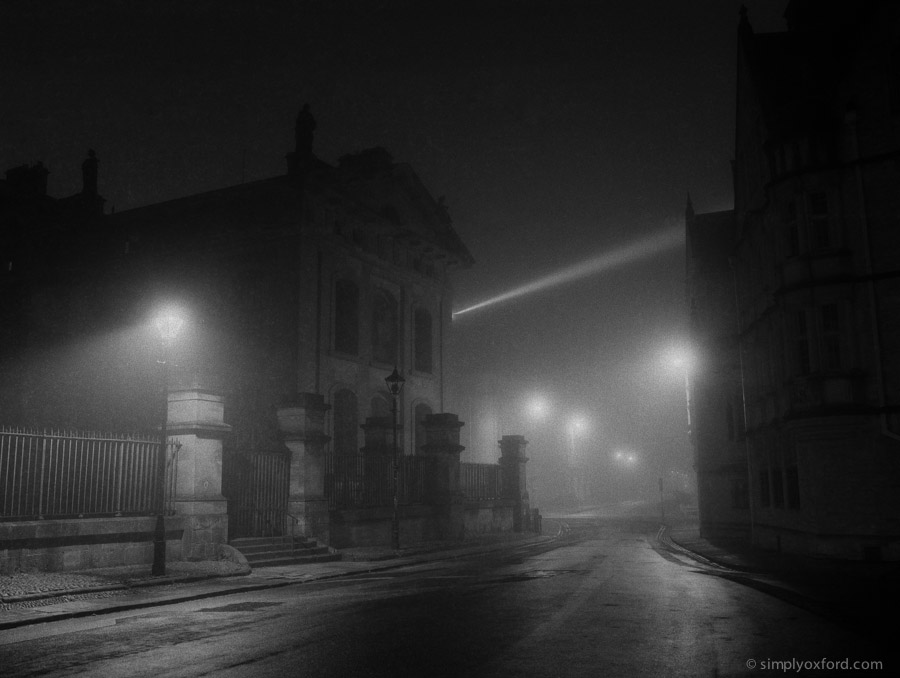 Oxford at night in fog